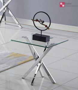 Designer Beistelltisch Edelstahl Glastisch Tisch Edel Hochglanz Wohnzimmertisch