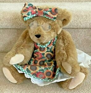 """Vermont Teddy Bear - classic 16"""", brown, with dress, bow, and glasses"""