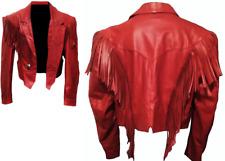 Womens Western Jacket Genuine Leather Native American Fringed Style Cowboy Coats