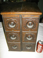 ANTIQUE PRIMITIVE FURNITURE COUNTRY WOOD SEWING CABINET STORAGE DRAW STAND TABLE