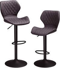 Pu Leather Swivel Bar Stools Set of 2 Black Adjustable Pub Chair Coffee Kitchen