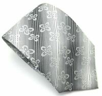 "Attaco Men's Tie White Grey Striped Floral 100% Silk 3.75"" Width 58"" Length"