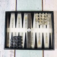 Vintage Marble And Onyx Backgammon Board Complete With Game Pieces