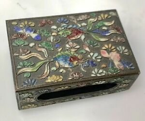 Antique Chinese Cloisonne CHAMPLEVE Goldfish & Bugs MATCH BOX COVER Brass