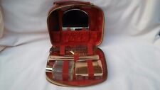 VINTAGE RARE 1960,s RED LEATHER LADIES TRAVEL BEAUTY CASE,COMPLETE IN USED COND.