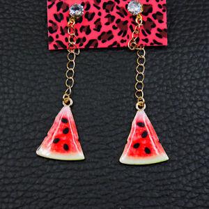 Betsey Johnson Women's Fashion Crystal Watermelon Fruit Stud Dangle Earrings