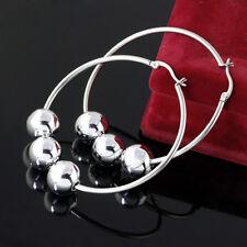 1pair Silver Beads Stainless Steel Big Round Fashion Women's Earrings Hoop
