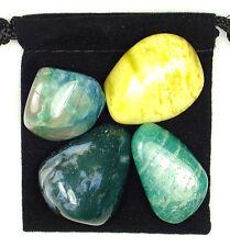 DIABETES REGULATOR Tumbled Crystal Healing Set = 4 Stones + Pouch + Description