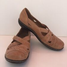 CLARKS BENDABLES Ashland Spin Leather Mary Jane Natural Suntan Sz 8 M EU 38