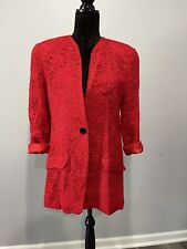 Christian Dior Suit Separates Lace one button blazer jacket Red Size 12 Vintage