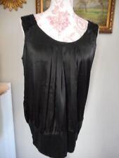 SIENNA Bluse festlich GR 42 XL schwarz satiniert Schulter Pailetten NEUWERTIG