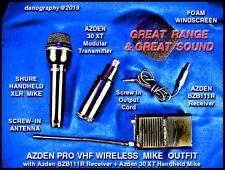 AZDEN WIRELESS VHF BZB111R Recvr+XLR 30XT Trans+Mike Set for Churches / Karaoke