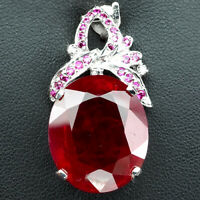 PIGEON BLOOD RED RUBY PENDANT OVAL 24 CT. SAPPHIRE WHITE GOLD 925 SILVER JEWELRY