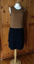 HOBBS size 14 wool stretch block colour camel & black shift dress - leather trim