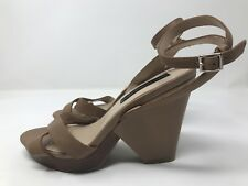 18b2f6ac66a Steven by Steve Madden Sandal Wedges Tan Leather Size 7 Open Toe Ankle Strap