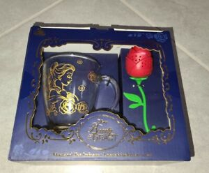 2021 Disney Store Beauty and the Beast Mug Rose Tea Infuser In Hand NEW Parks