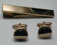 Antique KREISLER 12k Yellow Gold GF Blue  Cufflinks & Tie Bar #C40