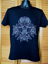 Screen Printed T-Shirt, Day of the Dead, Skull & Flowers Design, Size L, Black