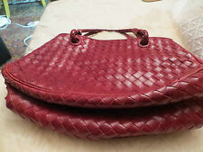 MINT/RED/BOTTEGA VENETA, TOGO BAG/2 BRAIDED STRAPS/GENUINE/AUTHENTIC