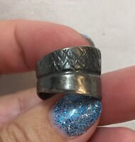 Antique Sterling Silver Ring Marked 925 Solid Band No Stone Hash Marks Jewelry