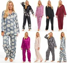 Ladies Satin Pyjamas Collared Full Length Floral Plain PJ Buttoned PLUS SIZE TOO