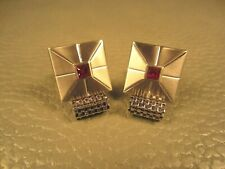 White Gold Plated Cuff Links Ruby Red Center Glass Wrap Around