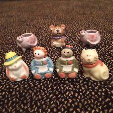 Set Of 7 Ceramic Painted Miniature Cookie Jars - Rabbit Dolls Cat Bear Dinosaurs