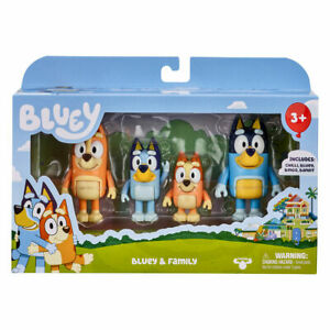 Bluey and Family Pack (series 2) 4 MINI FIGURES : BLUEY BINGO CHILLI BANDIT.