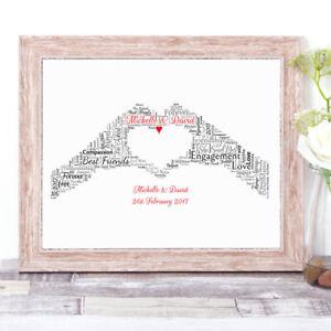 Personalised Love Heart HANDS Word Art Print Gift Engagement Valentines Wedding