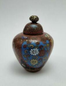 ANTIQUE JAPANESE MINIATURE CLOISONNE LIDDED JAR/POT/VASE MEIJI PERIOD 1868-1912