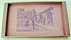 """VINTAGE CALIFORNIA GOLDEN STATE REDWOOD TRAY MADE FROM GIANT REDWOODS 10.5"""" X 6"""""""