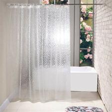 3D Bath Shower Curtain Clear Cube Water Transparent PEVA Waterproof W/ 12 Hooks