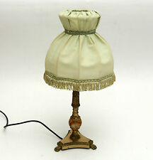 Vintage Antique style brass plate & onyx Table /Bedside Lamp & Pale green Shade