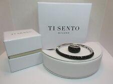NEW Ti Sento Milano Black Pave CZ Rhodium Sterling Silver Bangle Bracelet & Ring