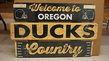 """OREGON DUCKS WELCOME TO DUCKS COUNTRY WOOD SIGN 19""""X30'' NEW WINCRAFT"""