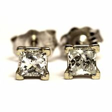 14k white gold .35ct I2 I princess diamond stud earrings vintage estate antique