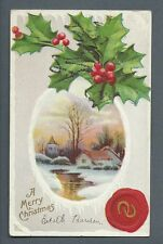 Vintage Postcard A merry Christmas, Embossed, Unposted