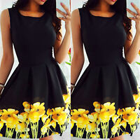 Womens Sleeveless Slim Fit Skater Dress Summer Holiday Beach Party Mini Sundress