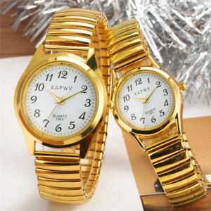 Casual Elastic Band Quartz Analog Watch Lovers Couple Bracelet Watches Xmas Gift