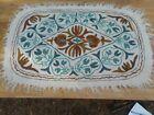 Vintage Handmade Wool / Cotton Namda Area Rug Srinagar Kashmir Hand Spun Yarn