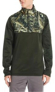 $70 Under Armour Men's Sz LARGE Caliber 1/4 Zip Pullover Green Realtree 1259217