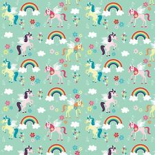 Printed Bow Fabric A4 Canvas Unicorns Rainbows U2 Make glitter hair crafts