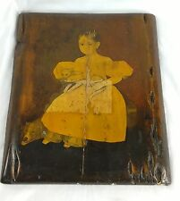 Vintage Antique Decoupage Picture on Wood Child Holding Pet Cat and Dog Laying