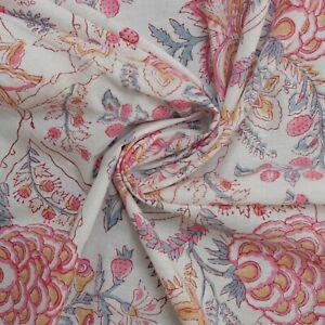 Indian Hand Block Prin Floral On Cream White 100% Cotton Women Dress Fabric