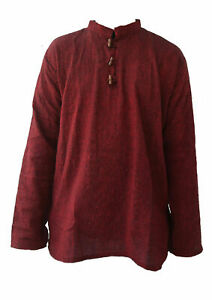 Indian Grandad Maroon Red Collarless Kurta Shirt Men's Long Sleeve Cotton Shirt