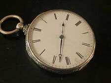 Antique Silver Key Wind Pocket Watch 47mm