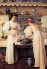 Oil painting louise jopling - blue and white porcelain with young girls beauty