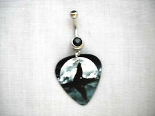 Guitar Pick 14g Black Cz Belly Ring Night Sky Gray Wolf Silhouette & Full Moon