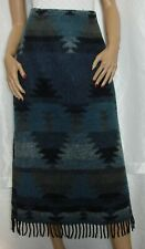 Rod's Western Size Medium Wool Blend Long Blanket Fringed Skirt Navajo Print