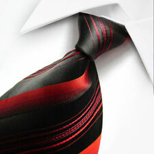 NEW RED BLACK STRIPES CLASSIC MEN'S CHINA SILK WEDDING TIE UK SELLER GIFT